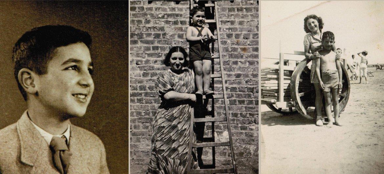 A gauche, Simon Gronowski âgé de 10 ans ; au centre avec sa mère Chana pendant l'été 1935 dans leur jardin à Etterbeek ;  à droite avec sa sœur et sa sœur Ita en 1938 sur la plage à Ostende, Belgique.