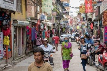 尼泊尔首都加德满都街景(2015年图片)。