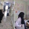 تصطف السيّدات (يسار) للحصول على الخدمات في مستشفى الساحل حيث تم تقليص خدمات الصحة الإنجابية بسبب نقص التمويل. وعلى اليمين سيّدة حامل تحصل على الخدمات في المستشفى