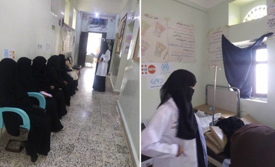 (Left) women queue for services at Al Shahel Rural Hospital, where reproductive health services have been cut due to insufficient funding; and (right) an expectant mother is attended to at the hospital.