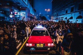Protests in Tsim Sha Tsui, Hong Kong at the start of 2020.