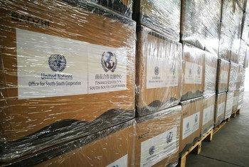 通过Bithelp平台筹集的25万个口罩到达了北京的仓库并移交给西非卫生组织。