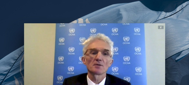 مارك لوكوك، منسق الأمم المتحدة للشؤون الإنسانية، خلال اجتماع مجلس الأمن في دائرة تلفزيونية مغلقة