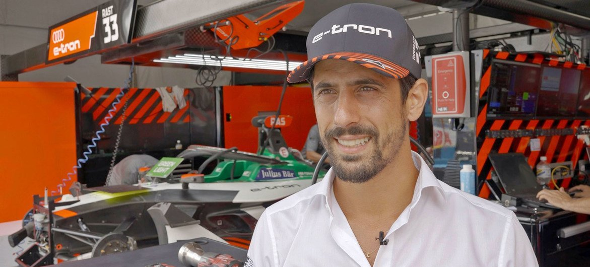 Lucas di Grassi, Formula E driver for the Audi team, at the 2021 New York race in Red Hook, Brookyln.