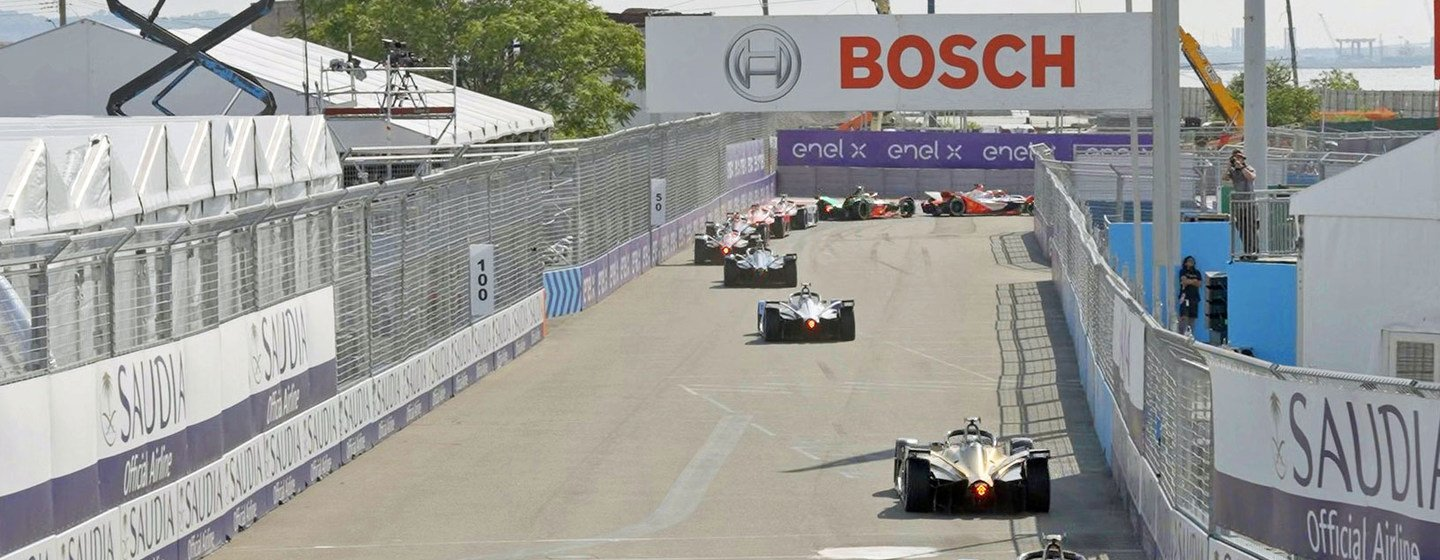 Formula E cars at the 2021 New York race in Red Hook, Brookyln.