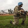 Des Casques bleus uruguayens sécurisent l'aéroport de Butembo dans l'est de la République démocratique du Congo (Août 2019)