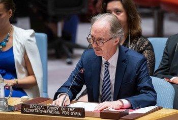غير بيدرسون، المبعوث الخاص للأمين العام إلى سوريا، يقدم إحاطة إلى مجلس الأمن حول الوضع في سوريا. (29 أغسطس 2019)