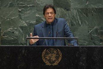 巴基斯坦总理伊姆兰·汗在l联合国大会第七十四届会议一般性辩论中发言。(2019年9月27日)