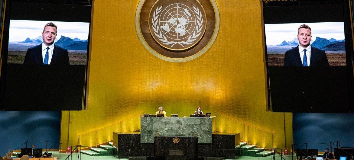 Глава МИД Исландии Гудлёйгур Тор Тордарсон обратился к делегатам 75-й сессии Генеральной Ассамблеи ООН