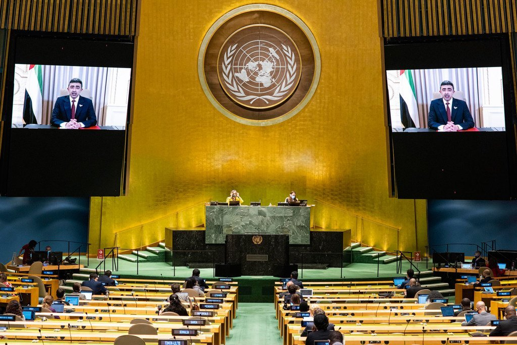 Foreign Minister Sheikh Abdullah bin Zayed Al Nahyan (on screen) of the United Arab Emirates addresses the general debate of the General Assembly's seventy-fifth session.