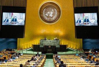 إسماعيل ولد الشيخ أحمد، وزير الشؤون الخارجية والتعاون الدولي في جمهورية موريتانيا الإسلامية، خلال كلمته في مداولات الدورة الخامسة والسبعين للجمعية العامة للأمم المتحدة