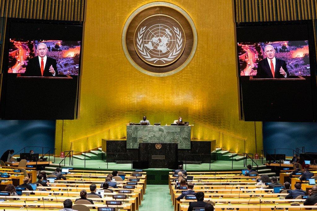 El primer ministro israelí, Benjamín Netanyahu, en su discurso pregrabado para la Asamblea General