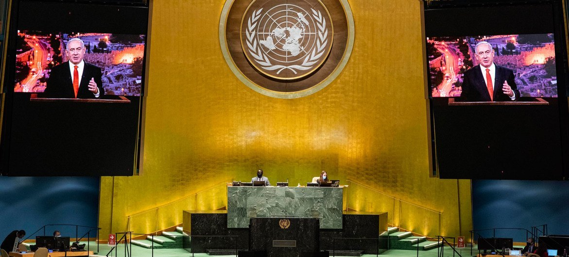 以色列总理内塔尼亚胡在联合国大会第七十五届会议的一般性辩论中通过视频发言。