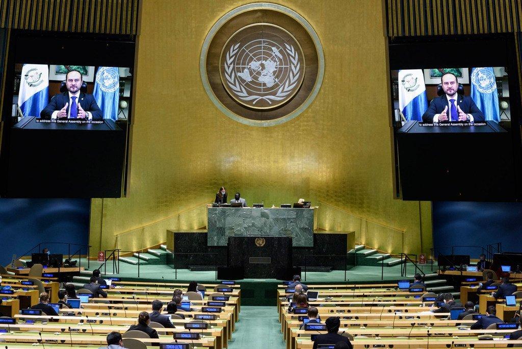 El ministro de Relaciones Exteriores de Guatemala, Pedro Brolo, se dirige ante la Asamblea General 2020.