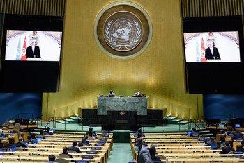 عثمان الجرندي وزير خارجية تونس، يلقي كلمته بلاده في المناقشة العامة للدورة الخامسة والسبعين للجمعية العامة.