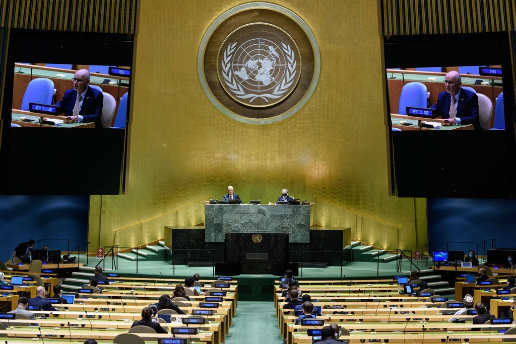 Ambassador Craig John Hawke (on screen) of New Zealand addresses the general debate of the General Assembly's seventy-fifth session.