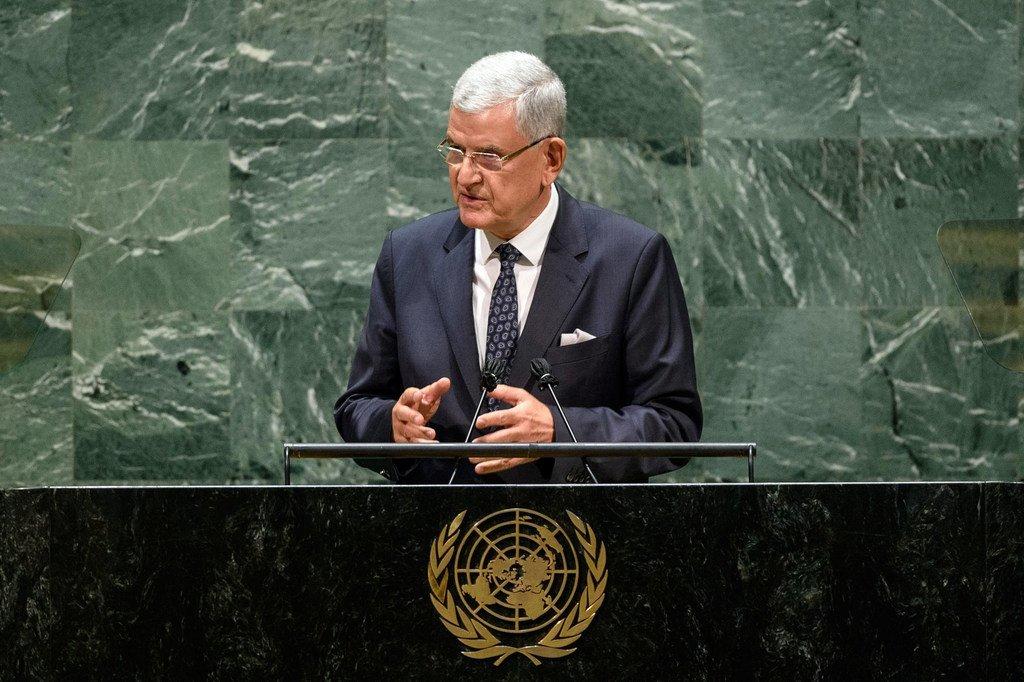 यूएन महासभा के 75वें सत्र के अध्यक्ष वोल्कान बोज़किर जनरल डिबेट का समापन करते हुए. (29 सितम्बर 2020)