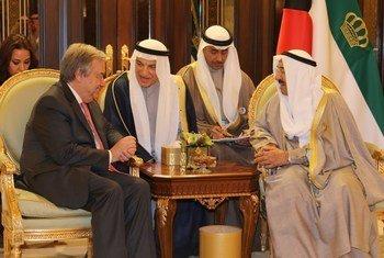 صورة من الأرشيف لقاء الأمين العام أنطونيو غوتيريش مع صاحب السمو الشيخ صباح الأحمد الجابر الصباح أمير دولة الكويت