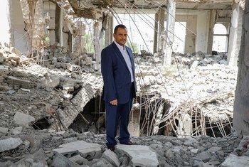 """也门非政府组织""""杰尔·阿尔贝纳人道主义发展协会""""的负责人和创办人 阿明·朱布兰(Ameen Jubran)。"""