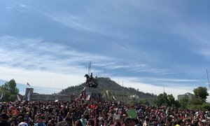 Protesters take to the streets in Santiago, Chile.