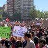 Protestas en Santiago, Chile.