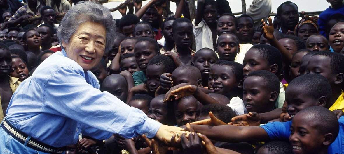 The former UN High Commissioner for Refugees, Sadako Ogata, visited the Democratic Republic of the Congo in February 1995.