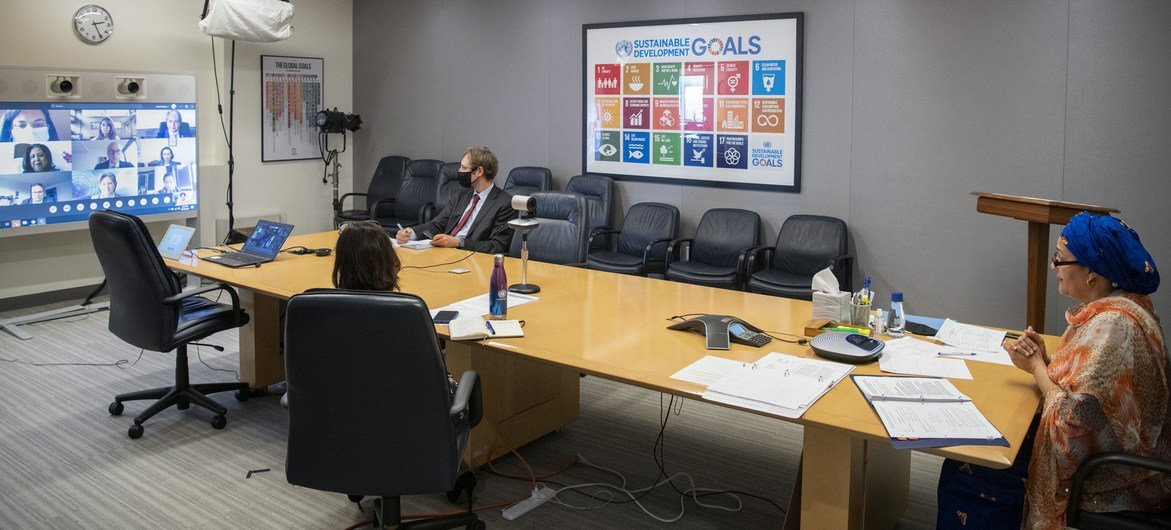 Deputy UN Secretary-General Amina Mohammed takes part in a virtual visit to Colombia. Pictured here, she meets officials, via videoconference, from her office at UN Headquarters in New York.