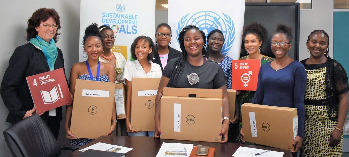 Namibian high school girls, who participated in the 'African Girls Can Code' programme, pay a visit to UN House in Windhoek to start their journey of putting their coding skills into action.