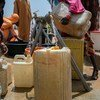 A solar-powered borehole provides water to more than 6,000 residents in a camp for displaced people in Maiduguri in northeastern Nigeria.