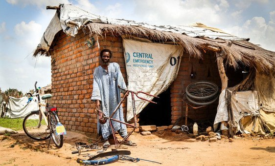 A Chadian returnee makes ends meet by repairing bicycles and motorcycles at the Djako camp in the south of the country.