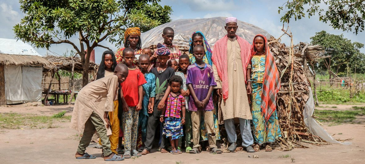 A family of 15 at the Djako returnee site in southern Chad.