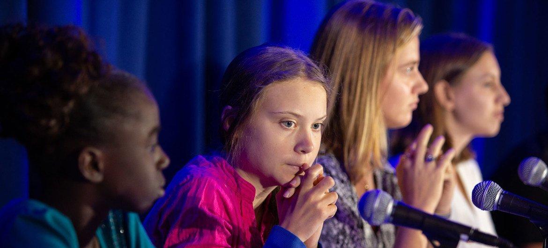 La activista Greta Thunberg participa en una conferencia de UNICEF en Nueva York.