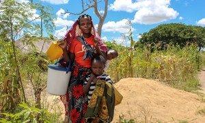 Une mère et ses enfants, qui ont été déplacés par le conflit, vont chercher de l'eau dans un camp temporaire dans le district de Montepuez, Cabo Delgado, Mozambique.