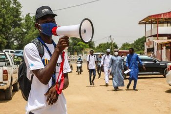 A COVID-19 public awareness campaign takes place in Chad's capital city, N'Djamena.