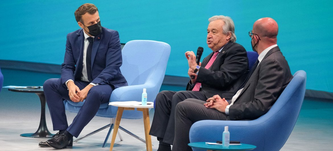 Secretary-General António Guterres (second right) addresses the opening of the Generation Equality Forum in Paris.