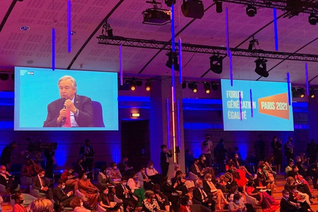 Katibu Mkuu wa UN António Guterres akihutubia ufunguzi wa jukwaa la kizazi cha usawa hii leo huko Paris nchini Ufaransa