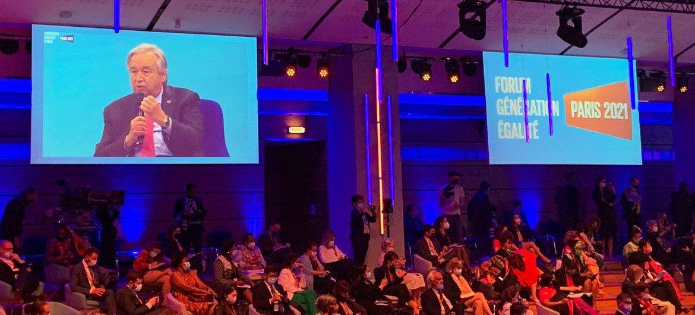 O secretário-geral António Guterres falando na abertura do Fórum Geração Igualdade em Paris.