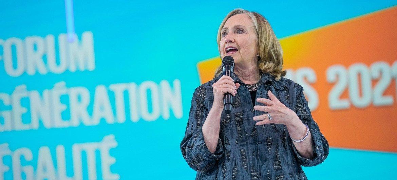 Хилари Клинтон выступила на открытии форума в Париже.