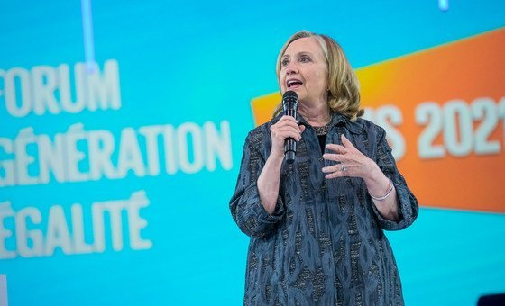 Hillary Clinton addresses the opening of the Generation Equality Forum in Paris.