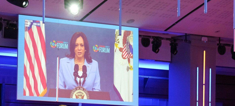 A vice-presidente dos EUA, Kamala Harris, também discursou no Fórum