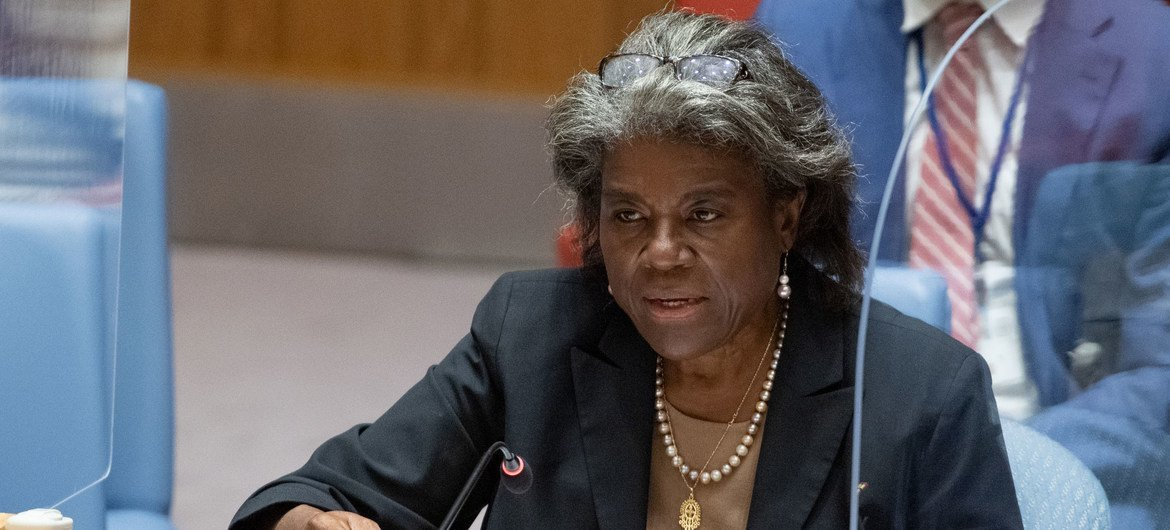 Ambassador Linda Thomas-Greenfield of the United States addresses the Security Council meeting on the situation in Afghanistan.