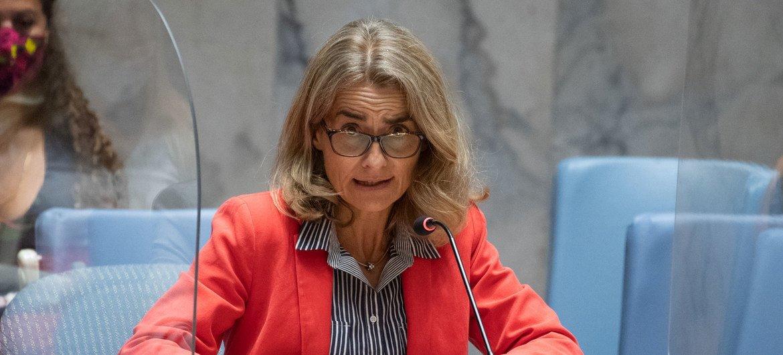 फ्राँस की स्थाई उपप्रतिनिधि नैथेली एस्टीवल-ब्रॉडर्स्ट अफ़ग़ानिस्तान के मुद्दे पर सुरक्षा परिषद की बैठक को सम्बोधित करते हुए.