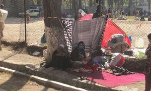 Many Afghan families were displaced when the Taliban advanced on Kabul.