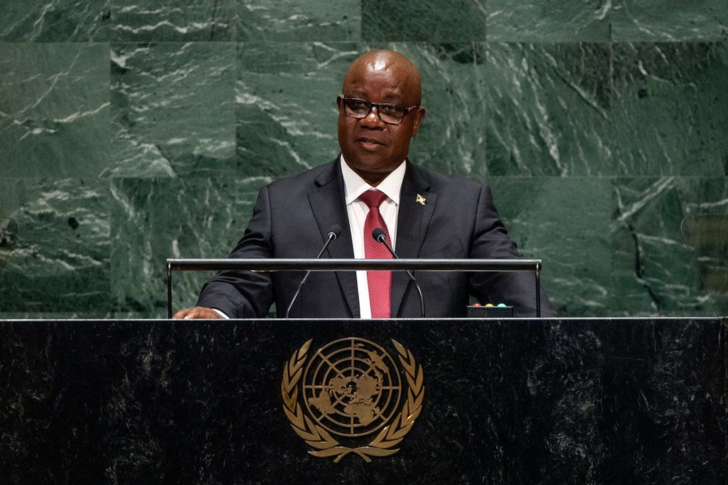 Ezéchiel Nibigira, Minister for Foreign Affairs of the Republic of Burundi, addresses the 74th session of the United Nations General Assembly's General Debate. (30 September 2019)