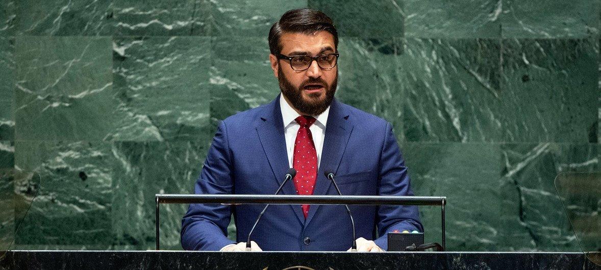 Cоветник президента страны по национальной безопасности Хамдулла Мохиб выступает в ходе 74-й сессии Генеральной Ассамблеи ООН