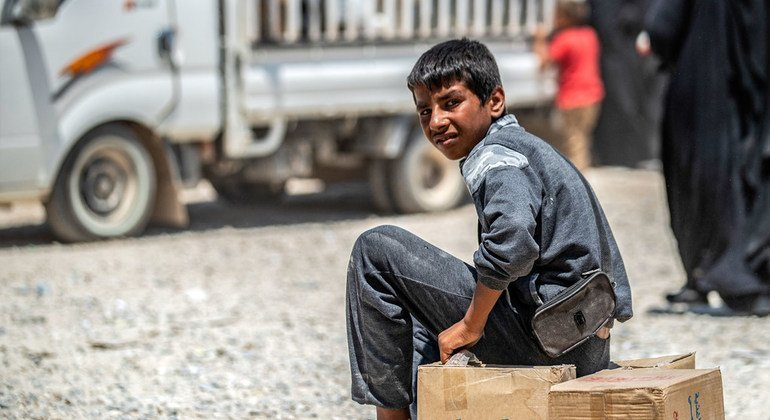 A young boy photographed at Al-Hol refugee camp in the northeastern desert of Syria. (July 2019)