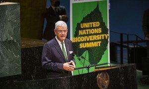 Volkan Bozkir, President of the UN General Assembly, addresses the UN Summit on Biodiversity.