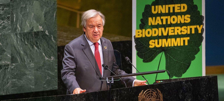 El Secretario General António Guterres en la Cumbre sobre Biodiversidad.