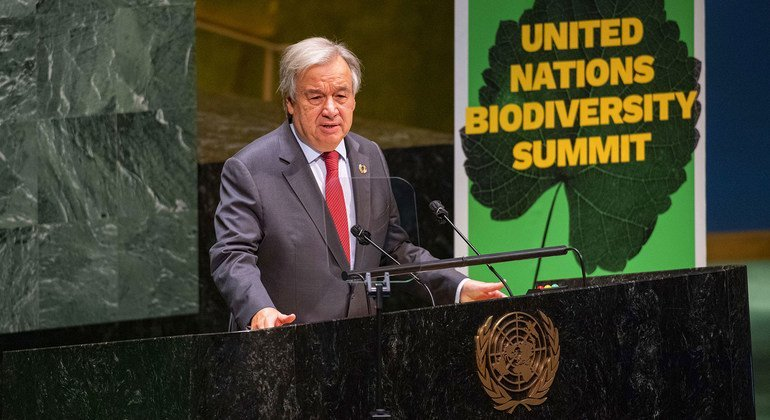 United Nations Secretary-General António Guterres addresses the UN Summit on Biodiversity.