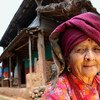 An elderly woman is pictured in Makaising Village in Gorkha District, Nepal.